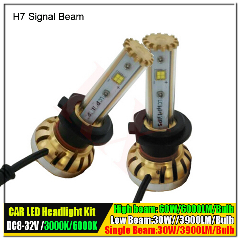 2 X 2016 Newest All in one 60W 7800LM Canbus Auto Car LED Headlight Kit H7 30W 3900LM 3000K 6000K Car Light Source Free Shipping(China (Mainland))