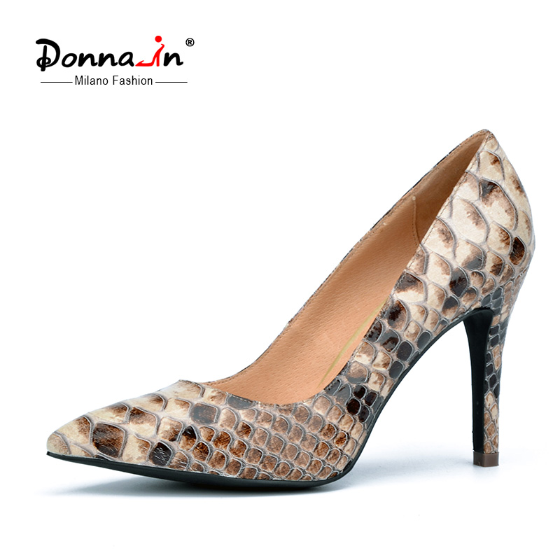 Donna in 2016 spring new collections thin and high heel pumps python skin leather ladies shoes pointed toe women's pumps(China (Mainland))