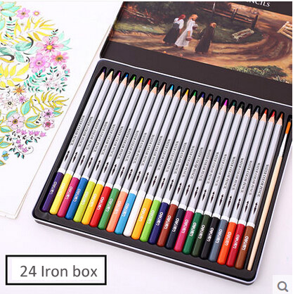 Deli Iron Box of 24 Pieces Watercolor Colored Pencils Best Art Coloring,Painting,Sketching for Artists,Child,Teen,Adult<br><br>Aliexpress