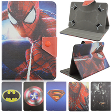 Universal PU Leather Stand Case Cover Spiderman Batman Superman For 10 inch Android Tablet Case For Samsung Apple iPad Prestigio(China (Mainland))