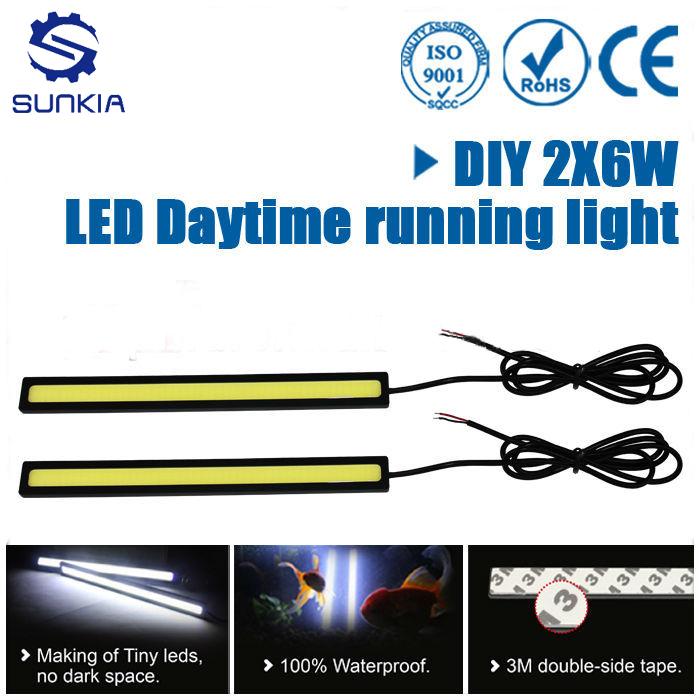 2Pcs/Pair  COB LED Lights DRL Daytime Running Light Auto Lamp For Universal Car Wholesales 100% Waterproof Free Shipping(China (Mainland))