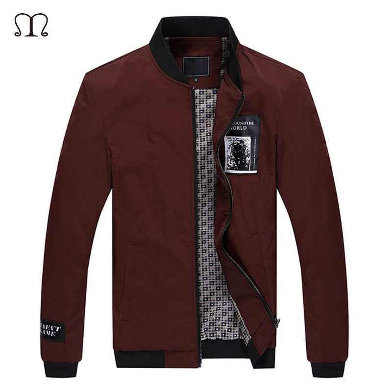 2016 Fashion Brand Khaki Jacket Men Stand Collar Autumn/Winter Mens Clothes Casual Slim Fit Coat Male Plus Size Jackets Homme(China (Mainland))
