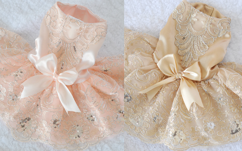 New arrival dog Wedding dress bows design,pet puppy skirt clothes,4 sizes available(China (Mainland))