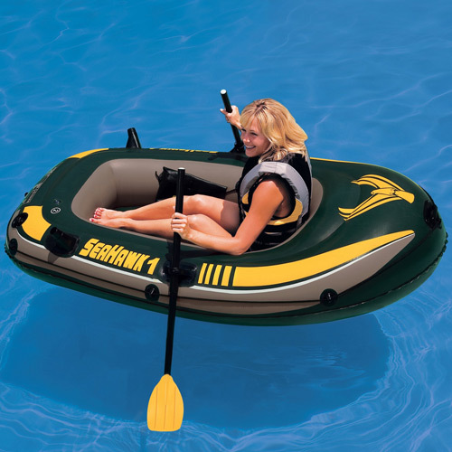 Intex Seahawk one person fishing boat inflatable kayak inflatable boat 193*108*35cm, a pair of oars and repair patch(China (Mainland))