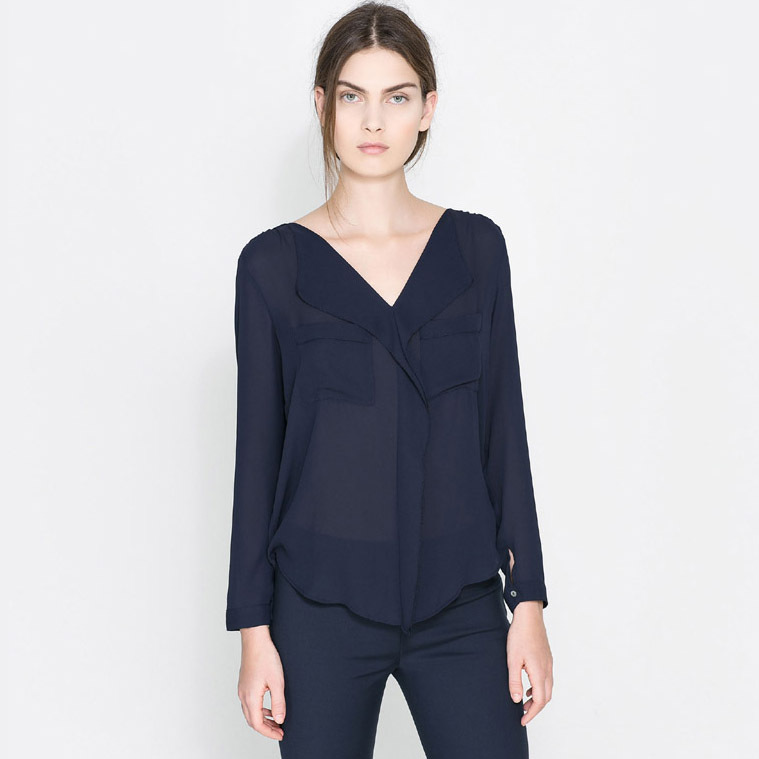 Images of Ladies Navy Blouse - Reikian