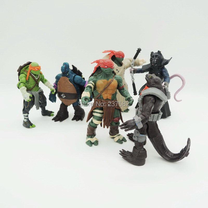 Anime Cartoon TMNT Movie Teenage Mutant Ninja Turtles 5 PVC Action Figures Toy Model 6PCS/Set 10cm(China (Mainland))