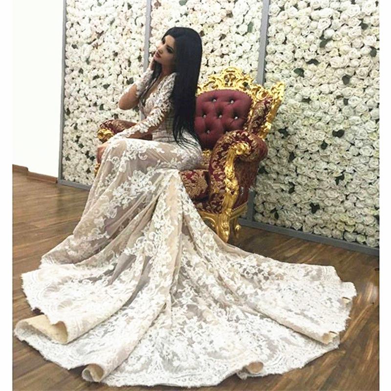2016 New Fashion Long Sleeve Muslim Evening Dresses Long Lace Abaya Islamic Moroccan Dress Mermaid Dubai Kaftan(China (Mainland))