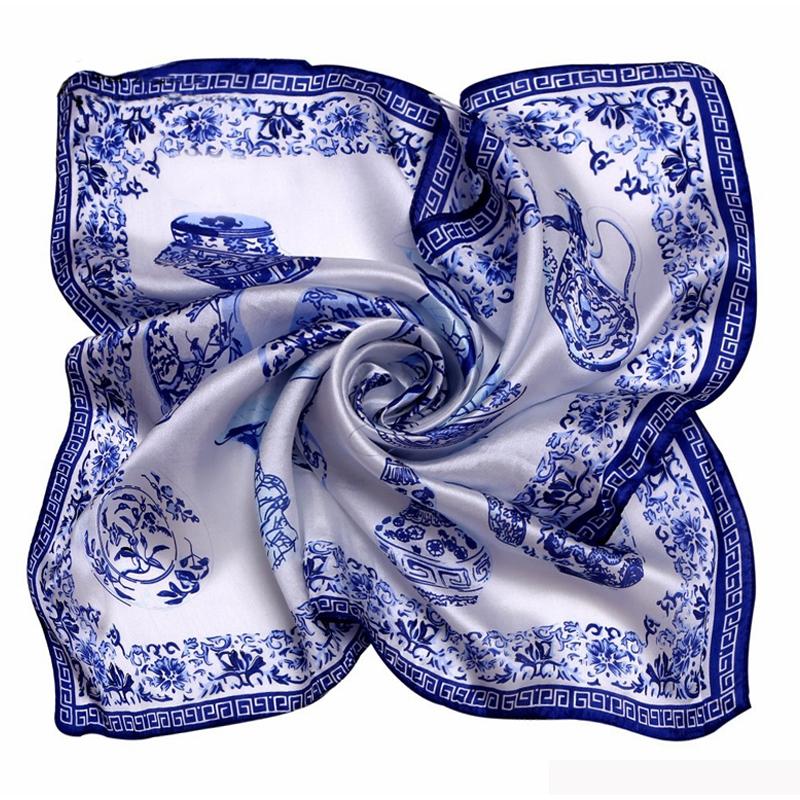 [LESIDA]Porcelain Print Bandana Square Silk Scarf 53*53CM Women Favorite Foulard Kerchief Necklace Satin Scarf1064(China (Mainland))