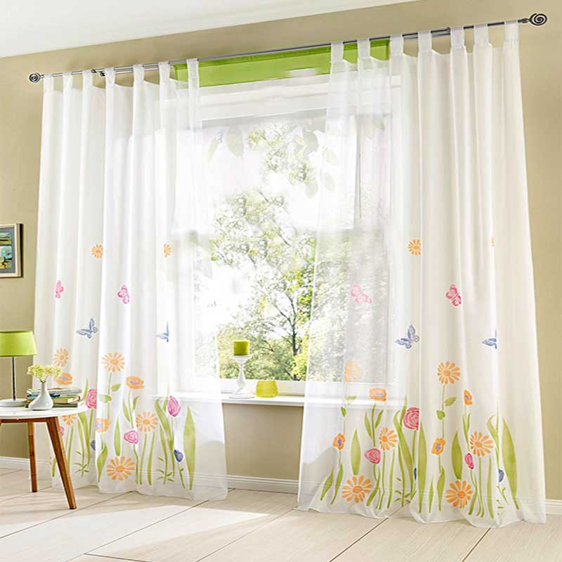 (1pc) Quality Butterfly Flower Sheer Curtains for Living ...