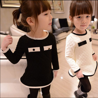 2016 Spring Autumn Kids Baby Girls Dresses Girl Cotton Dress Long Sleeve Dresses Baby & Kids Party Dresses for Kid 3-8Y(China (Mainland))