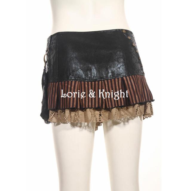 PU Steampunk Waist Bags Packs +Skirt