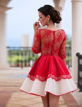 2016 New Style Scoop Neck Mini kilt Prom Dresses Lace Applique A Line Quarter Sleeve Exquisite Prom Party Dress