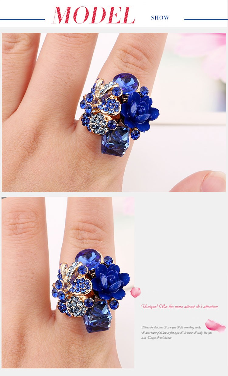 Purple flower ring for women hot sale crystal fashion party ring colorful jewelry trendy resin adjustable women's ring