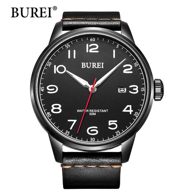 BUREI мужская Кварцевые Наручные Часы с Минеральное стекло Черный Светящийся Циферблат Кожаный Ремешок