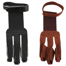 Archery Protect Glove 3 Fingers Pull Bow arrow Leather Shooting Gloves free shipping