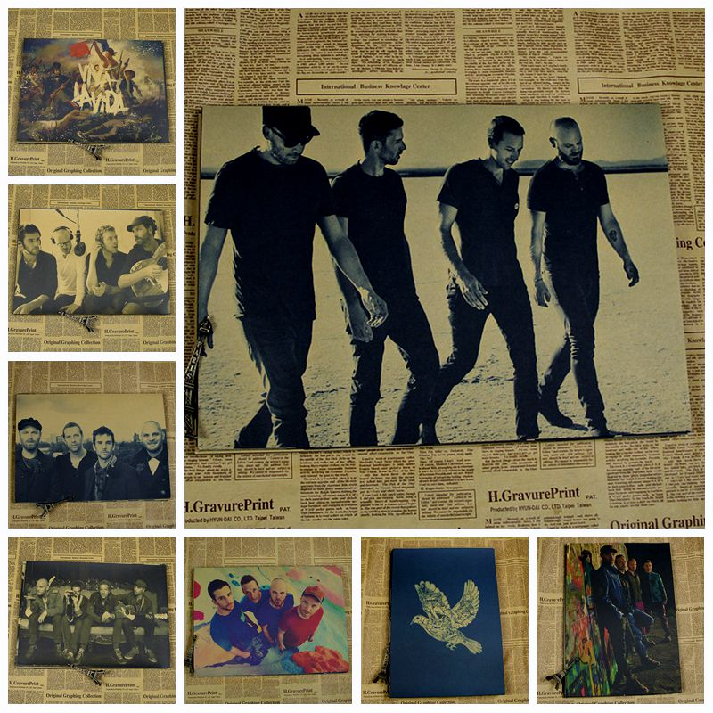 COLDPLAY Vintage Rock Band Poster Wall Bar House Cafe Art Decoration Painting Unique Gift 42x30CM H-25(China (Mainland))