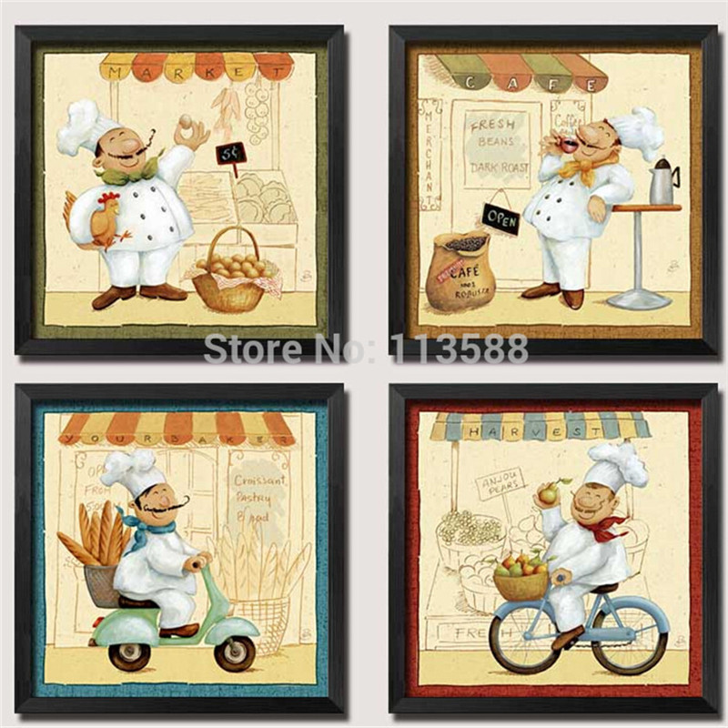 European Retro Vintage Hotel Diner Restaurant Wall Decoration Painting Cake Bread Cooker Home Decor Printing HD0486 - (mix order$15 storeSunshine Store)