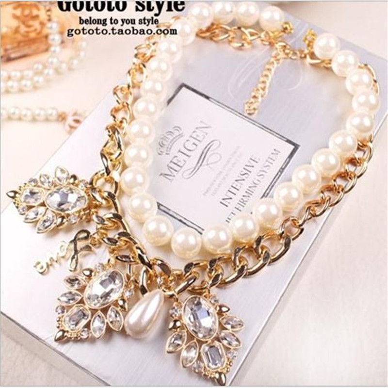 Cloth Belt Starry Beads Gold Chains Imitation Pearl Necklace Women Jewelry Chokers Chunky Big Statement Chunky Necklaces(China (Mainland))