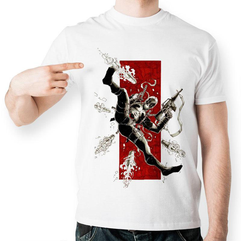High Quality Deadpool Gun Combat T Shirt Funny White Print Pattern T shirt Mutants Wade Wilson Tshirt For Men And Women(China (Mainland))