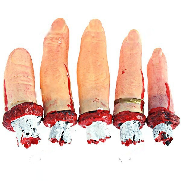 EasyLife 5 x Horrible Human Finger Severed Finger Hallowmas Prop Pratical Joke for Holiday Party Ball FHP-238229(China (Mainland))