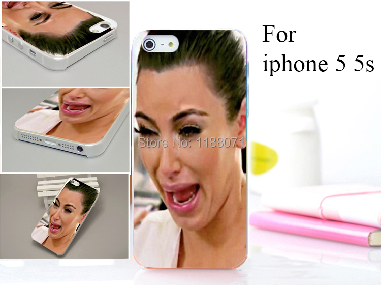 la vie est dure  kim kardashian crying Hard Case Cover for iphone 5 5s 5g 5th 1PCS/lot(China (Mainland))