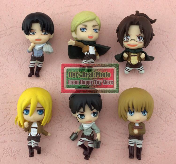 3.5CM 5pcs/lot random send mini cute Japanese anime figure Attack on Titan action figure set kids toys for boys(China (Mainland))