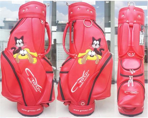 2016 Latest Red Golf Bag Ladies with Cartoon cat and dog Fashion Women Golf Staff bag High Quality Golf caddy bag(China (Mainland))