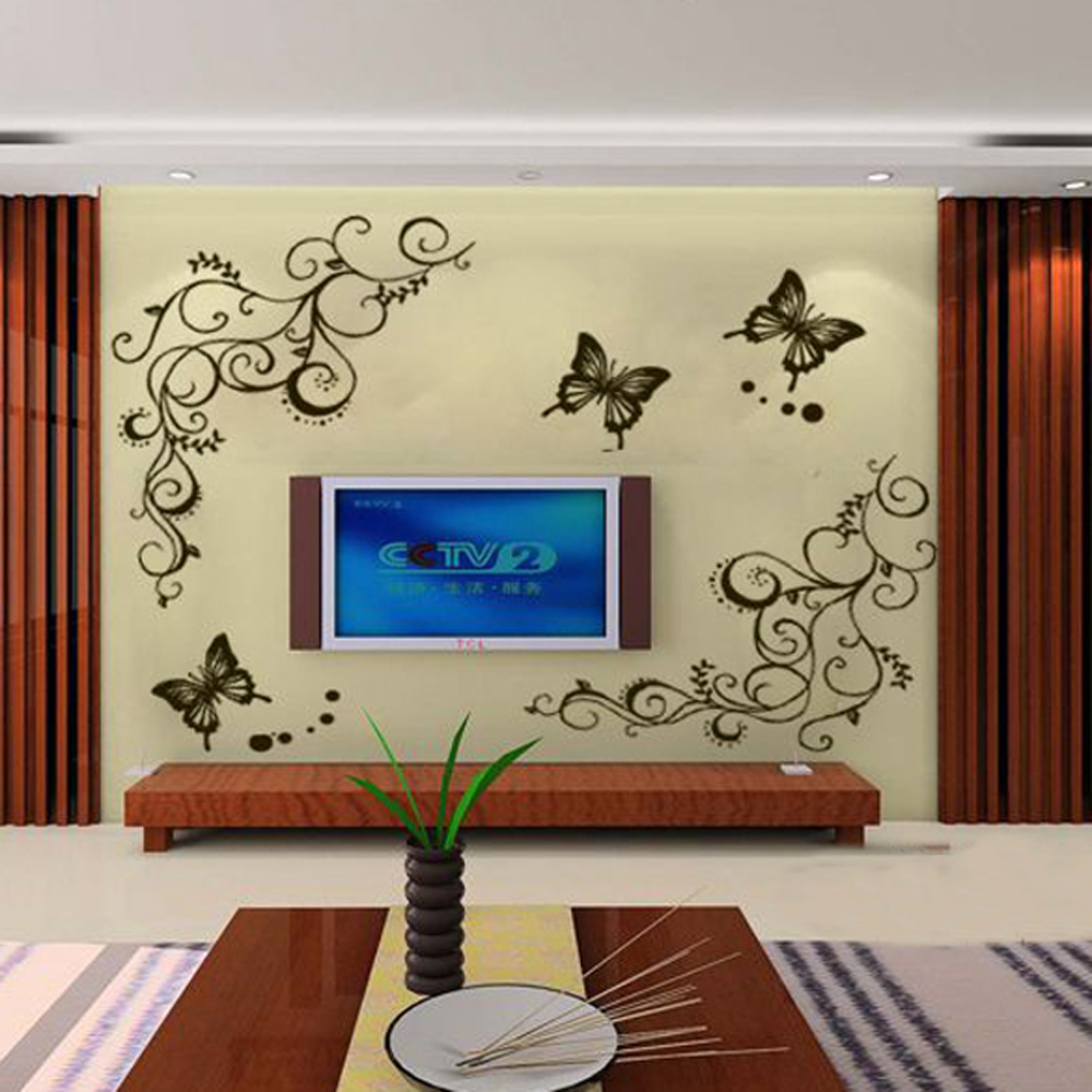 V1NF New Butterfly Flower Wall Stickers Decal Removable Art Vinyl Home Decor Free Shipping(China (Mainland))