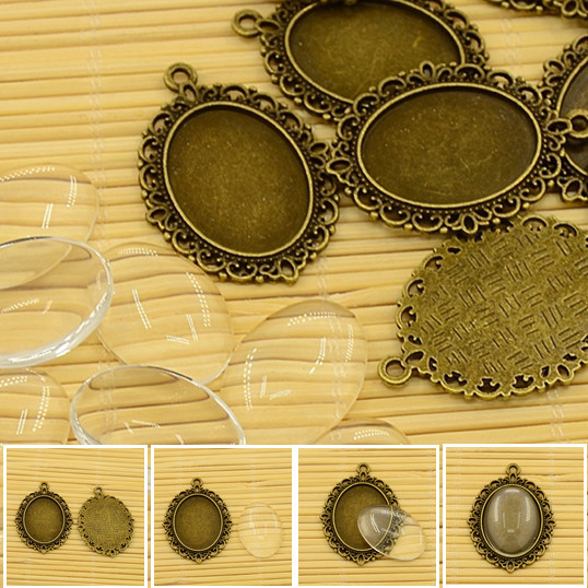 10set 25mm oval vintage cabochons charm jewellery making supplies Tibetan Style Transparent Clear Glass Cabochon Settings - PandaHall LTD's store