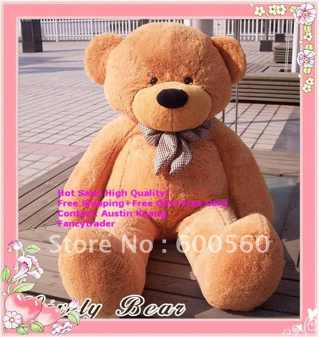 Fancytrader Classical New Light Brown Giant Plush Teddy Bear 71 INCHES (180cm) Free Shipping FT90057(China (Mainland))