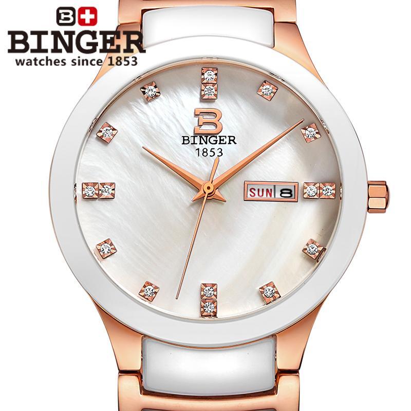 Switzerland Binger ceramic wristwatches men fashion quartz watch rhinestone Lovers watches 300M Water Resistance B-8007-7<br><br>Aliexpress