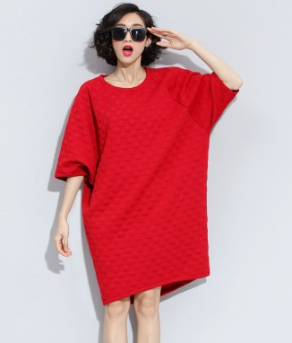 Europe and the fall of new large size solid dots in the long wave loose sleeve five female dress casual(China (Mainland))