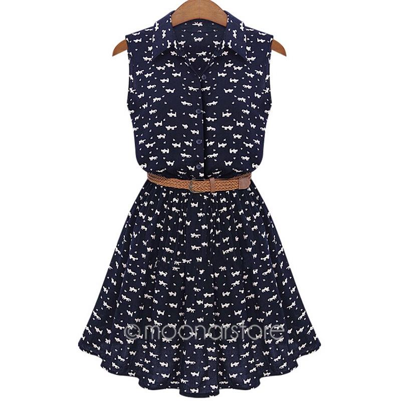 2015 Summer Fashion Women Casual Cute Pattern CAT Footprint Sleeveless Thin Party Mini Sexy Slim Dress vestidos + Belt USA5E3253(China (Mainland))