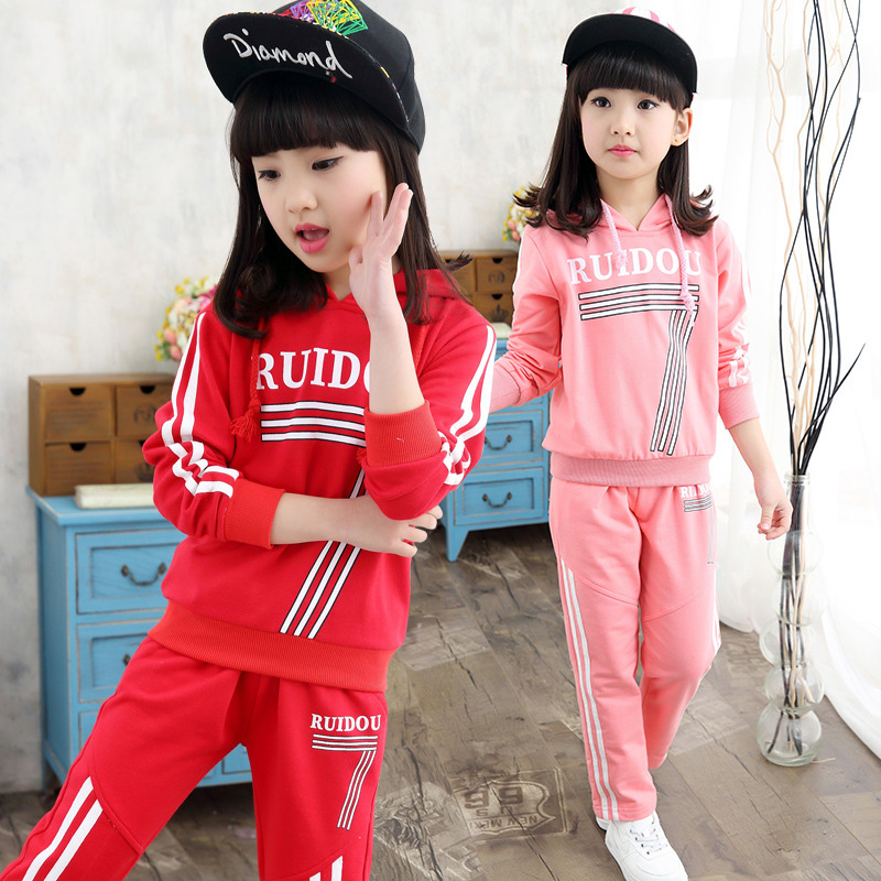 Boutique Clothing Long Sleeve 3-13Years Girl Cartoon Letter Pullovers And Pants Athletic Girls Sport 2Pcs Set Baby Girl Set(China (Mainland))