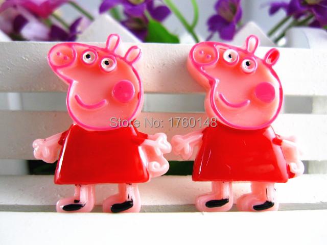 Pink Pig Figurine Flat Back Resin DIY Holiday Wedding Decoration handwork Craft Scrapbooking Headwear Hair Accessories(China (Mainland))