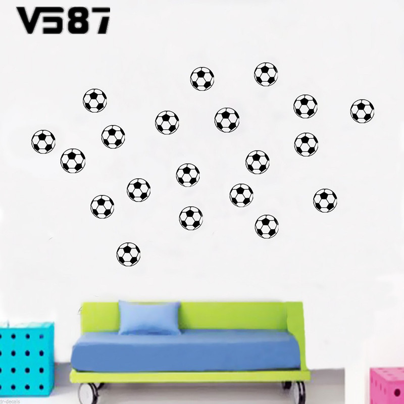 20PCS/Pack Vivid Football Wall Stickers PVC Art Removable Sport Theme Wall Decals Kids Room Home Decor Supplies 60*12cm(China (Mainland))