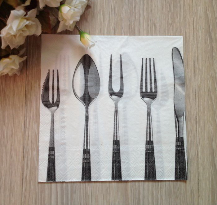 20pcs Spoon and fork Pattern Napkin Paper For Wedding Party Decoration(China (Mainland))