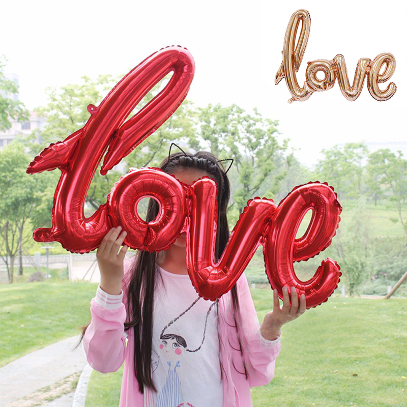 1Pc decoration Connected Design LOVE foil balloon air-filled large link letter balloon for Wedding birthday party 105*65cm A7(China (Mainland))