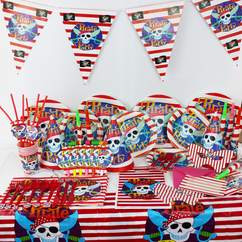 78pcs/2015 Luxury Kids Birthday Party Decoration Set Pirate Theme Party Supplies Baby Birthday Party Pack CK-021(China (Mainland))