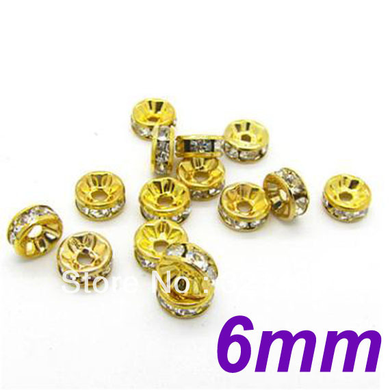 6MM Straight Edge Gold Plated With Clear Stone Crystal Rhinestone Rondelle Spacer Beads DIY Basketball Wives Beads 500PCS/LOT<br><br>Aliexpress