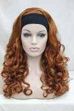 Super fashion sexy orange brown 3/4 wig with headband curly long half wig free shipping(China (Mainland))