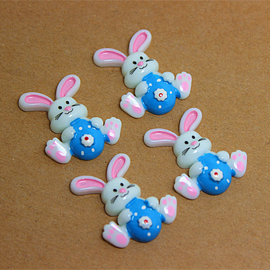 Bulk lot 50pcs cute Easter bunny with blue egg resin flatback cabochon for DIY craft art scrapbooking,free shipping(China (Mainland))