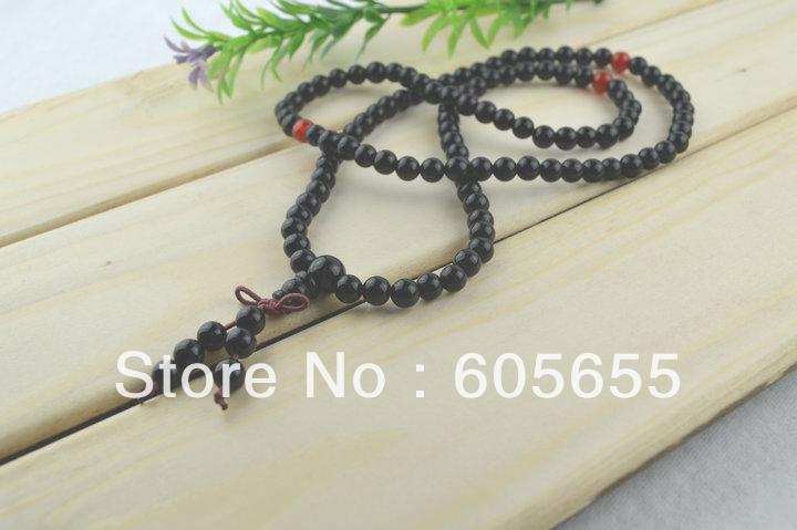 Wholesale Gemstone Black Onyx Agate 6mm Round Beads Mala Prayer Buddha Necklace Bracelets 10pc per Lot Free shipping<br><br>Aliexpress