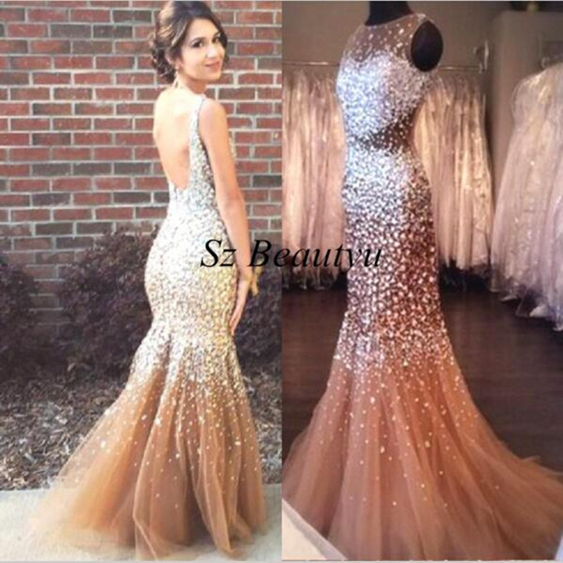 mermaid prom dresses with champagne diamondsprom dresses