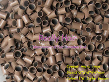 3.2*2.8*4.0mm 11#Light brown 1000pcs copper flared ring easily locks/copper tube micro link/ring /bead for i tip hair extension