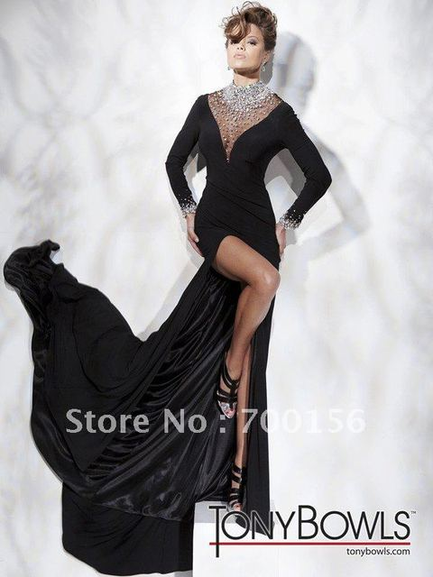 Custom-Made 2011 Fall Sexy High Neck Sheath Long Sleeves Black Cheap Evening Dress WN418