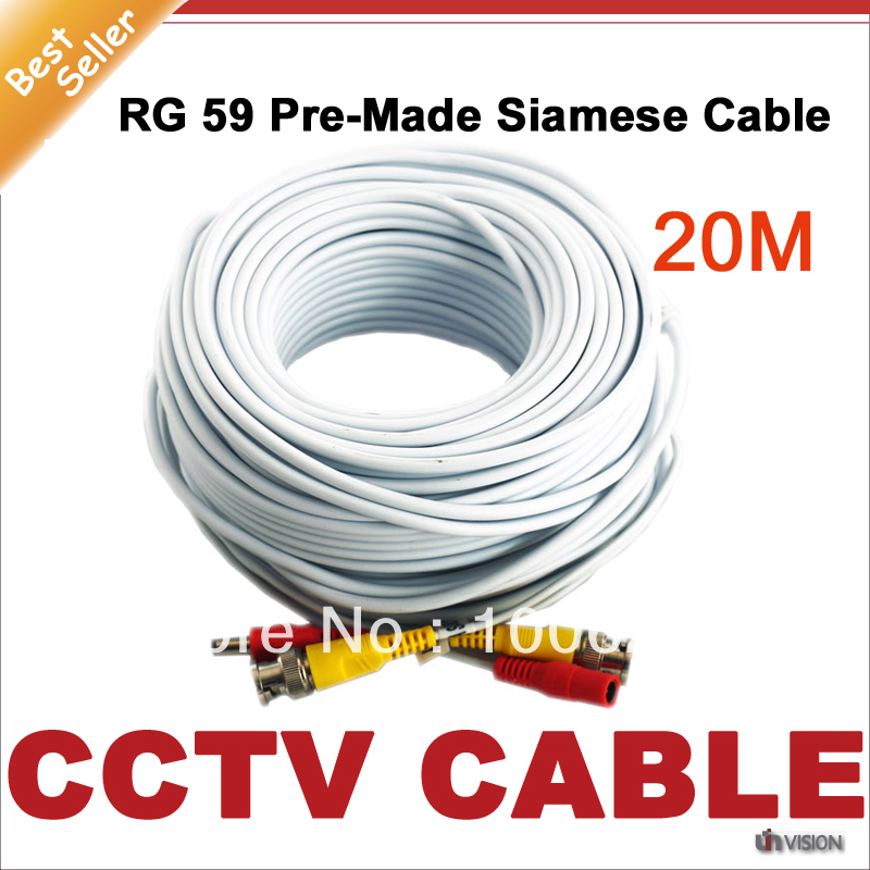 Free shipping 20M CCTV Premade Siamese Cable with BNC + DC for CCTV Camera Cable and DVRs, BNC coaxial Cable, white color(China (Mainland))
