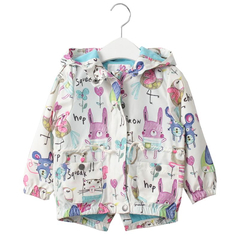 New 2016 Spring Girls Jackets Cute Graffiti Zipper Hooded Outerwear For Girls Hand Painted Kids Sunscreen Toddler Girls Clothes(China (Mainland))