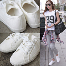 Free shipping In the spring and autumn with white shoe flat shoes low help shoes white