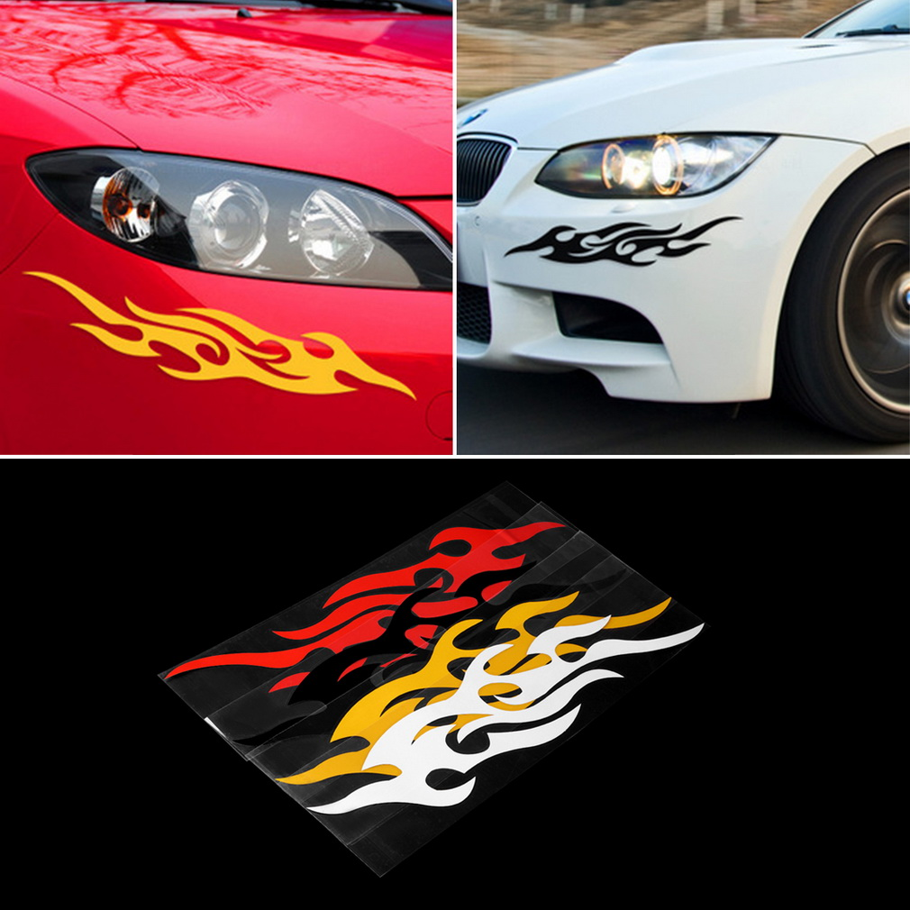 2 Pcs 14cm X 4cm Fire Flame Sticker Car Side Door, Truck Bumper, Window, lap top, Kayak Canoe, 10 colors Die Cut Vinyl Decal Set(China (Mainland))